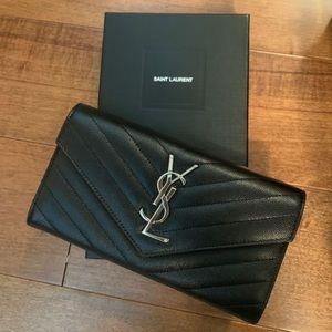 🆕 YSL Wallet (Black & Silver)